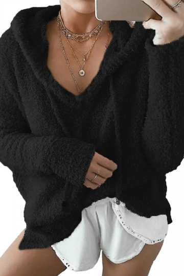 V-Neck Drawstring Long Sleeve Mohair Pullover Plain Hoodie Black