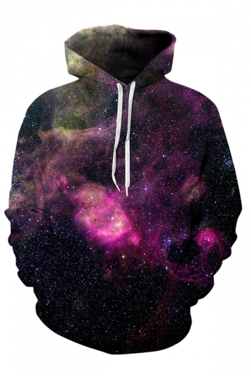 Womens Drawstring Kangaroo Pocket Galaxy Printed Hoodie Burgundy