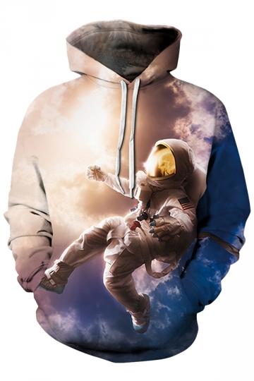 Womens Drawstring Kangaroo Pocket Spaceman Printed Hoodie Khaki