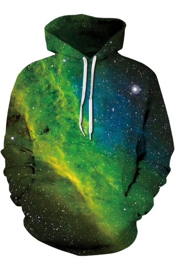Womens Drawstring Kangaroo Pocket Galaxy Printed Hoodie Oliver Green