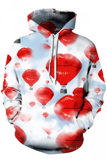 Womens Drawstring Kangaroo Pocket Long Sleeve Lip Printed Hoodie Red