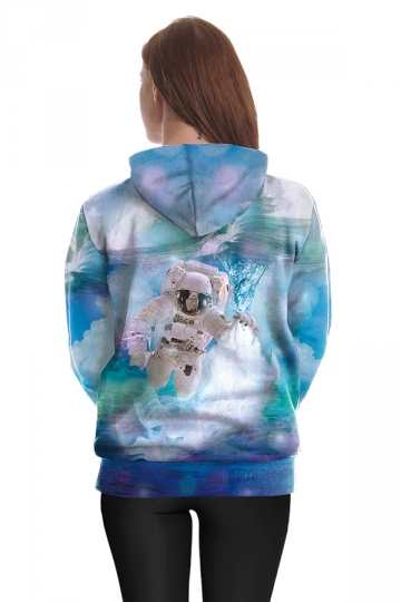 Womens Drawstring Kangaroo Pocket Spaceman Printed Hoodie Light Blue