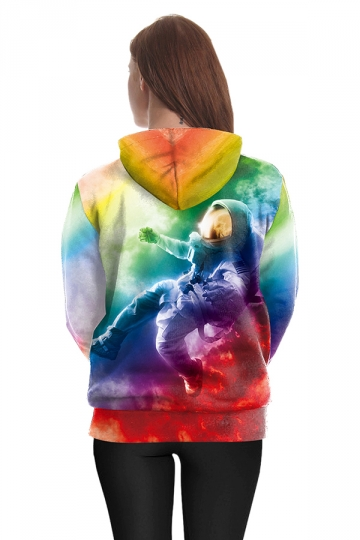 Womens Drawstring Kangaroo Pocket Spaceman Printed Hoodie Multicolour