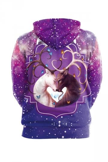 Womens Drawstring Kangaroo Pocket Reindeer Printed Hoodie Purple