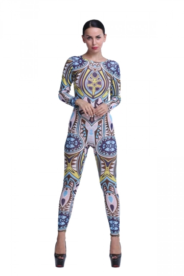 Womens Sexy Crew Neck Long Sleeve Backless Bodycon Jumpsuit Blue