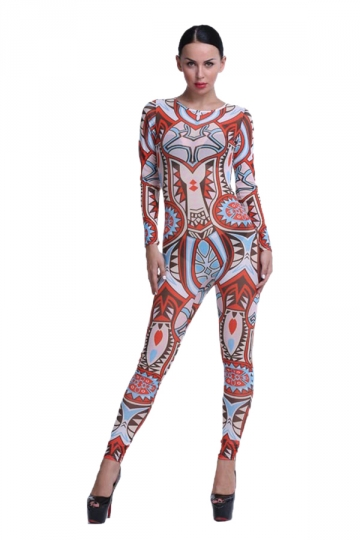 Womens Sexy Crew Neck Long Sleeve Backless Bodycon Jumpsuit Red