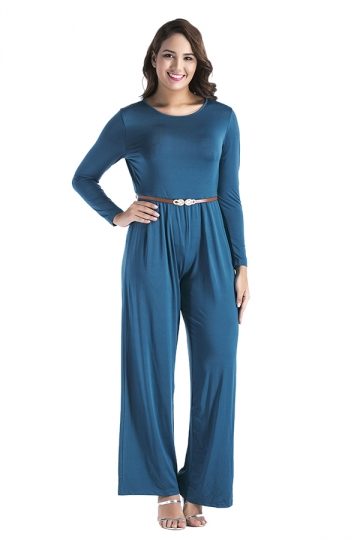 Womens Oversized Crew Neck Open Back Belt Drawstring Jumpsuit Blue