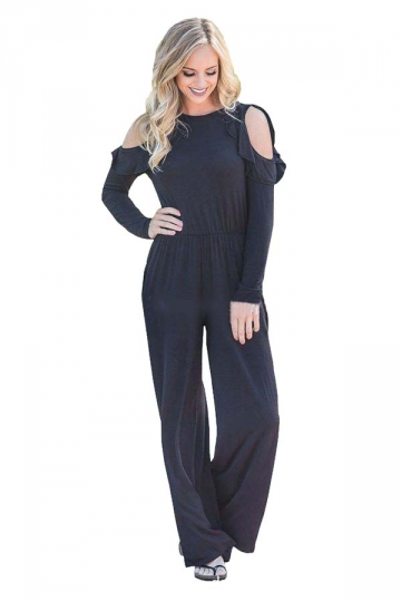 Womens Sexy Cold Shoulder Ruffled Collar Long Sleeve Jumpsuit Black