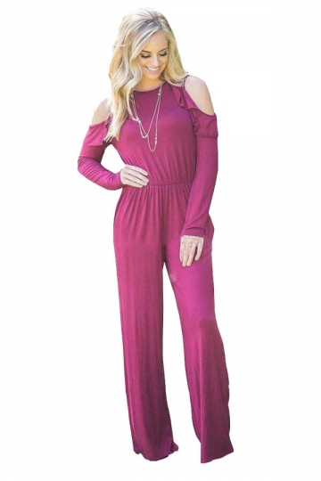 Womens Sexy Cold Shoulder Ruffled Collar Long Sleeve Jumpsuit Ruby