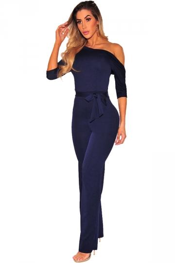 Womens Sexy One Shoulder Waist Bow Half Sleeve Jumpsuit Navy Blue