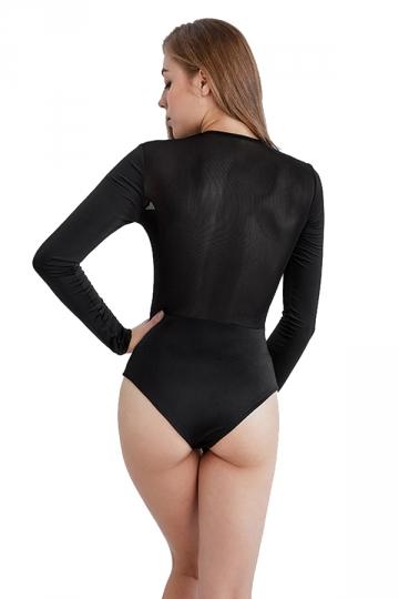 Womens Sexy V-Neck Sheer Raglan Sleeve Button Plain Bodysuit Black