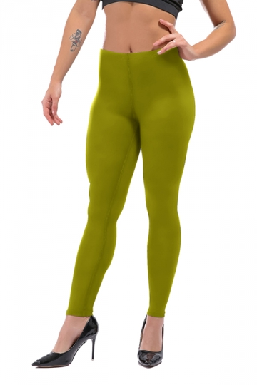 Womens Sexy Skinny Ankle Length Plain High Waisted Leggings Army Green