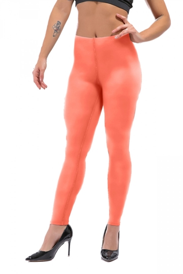 Womens Sexy Skinny Ankle Length Plain High Waisted Leggings Orange