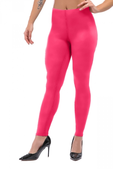 Womens Sexy Skinny Ankle Length Plain High Waisted Leggings Rose Red