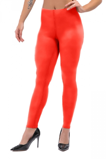 Womens Sexy Skinny Ankle Length Plain High Waisted Leggings Orange Red
