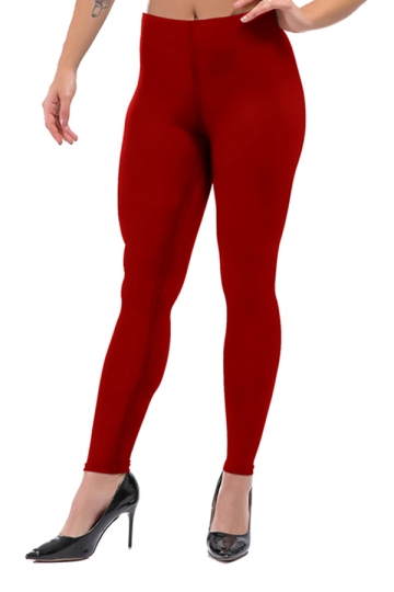 Womens Sexy Skinny Ankle Length Plain High Waisted Leggings Red