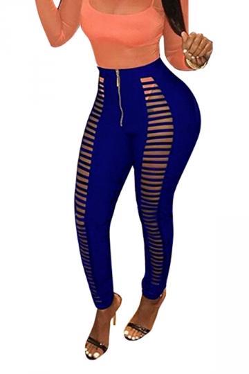 Womens Sexy Skinny Zipper Cut Out Plain Ripped Leggings Blue