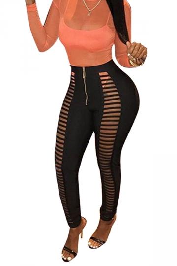 Womens Sexy Skinny Zipper Cut Out Plain Ripped Leggings Black