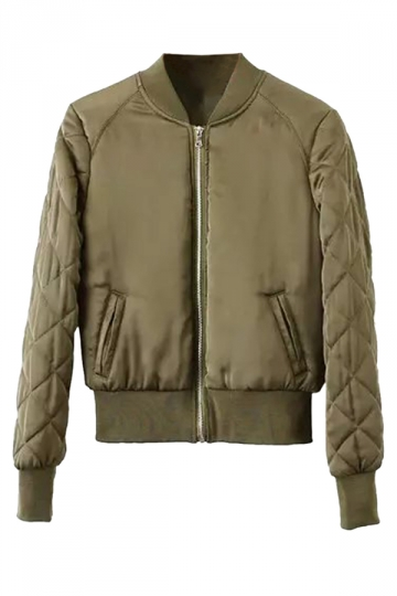 Womens Stand Neck Zipper Pockets Plain Padded Down Jacket Army Green
