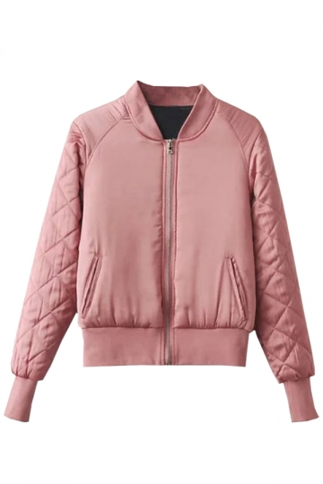 Womens Stand Neck Zipper Pockets Plain Padded Down Jacket Light Pink