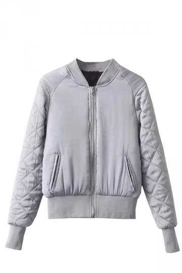 Womens Warm Stand Neck Zipper Pockets Plain Padded Down Jacket Gray