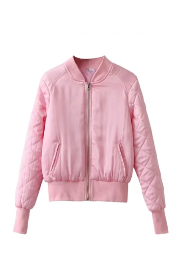 Womens Warm Stand Neck Zipper Pockets Plain Padded Down Jacket Pink