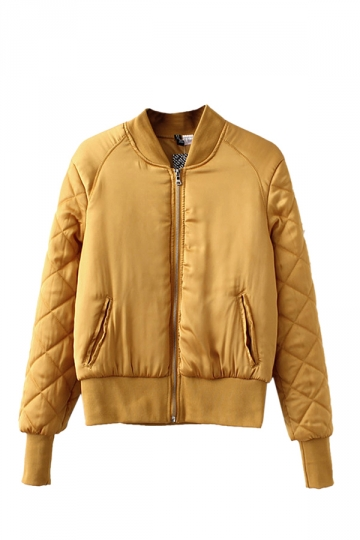 Womens Warm Stand Neck Zipper Pockets Plain Padded Down Jacket Yellow