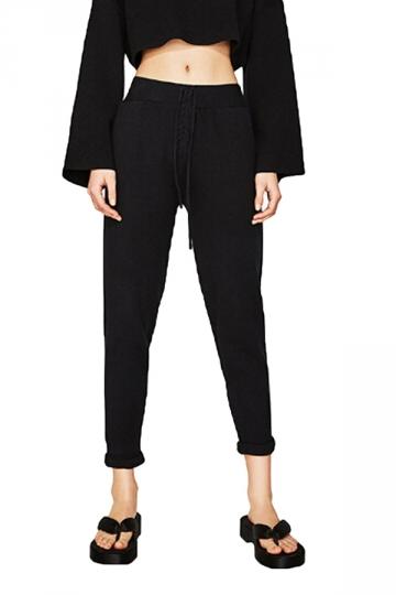 Womens Elastic Drawstring Oversized Pocket Capri Leisure Pants Black
