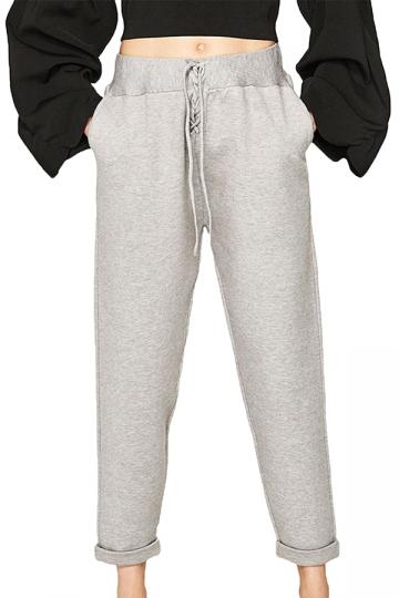 Elastic Drawstring Oversized Pocket Capri Sports Leisure Pants Gray