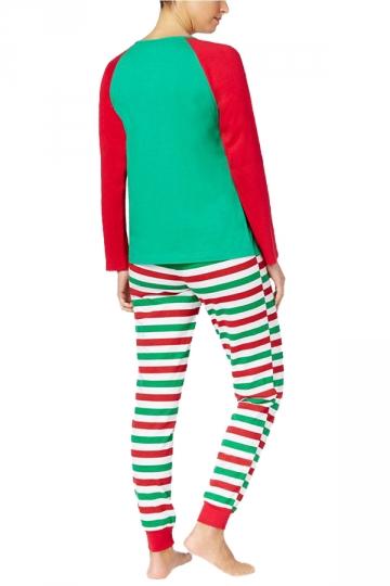 Womens Stripe Santa Printed Christmas Family Pajama Set Red