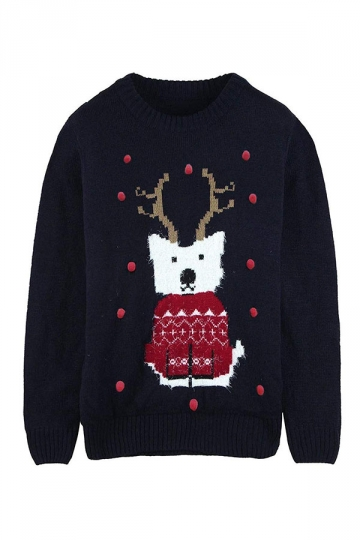 Womens Dog With Elk Antlers Printed Ugly Christmas Sweater Navy Blue
