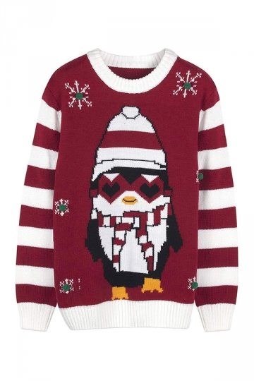 Womens Crew Neck Penguin Snowflake Printed Ugly Christmas Sweater Red