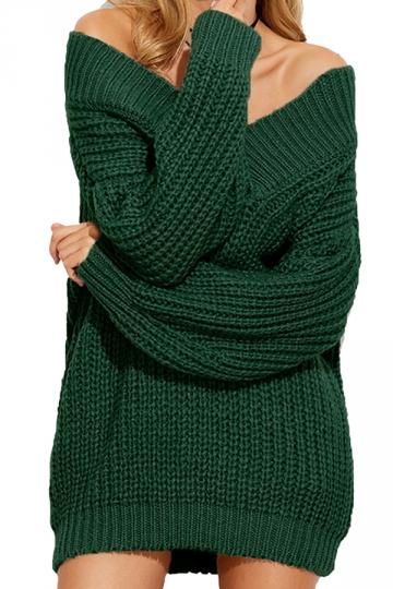 Womens Sexy Off Shoulder V-Neck Long Sleeve Plain Sweater Dress Green