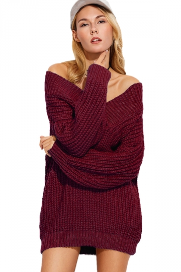 Womens Sexy Off Shoulder V-Neck Long Sleeve Plain Sweater Dress Ruby