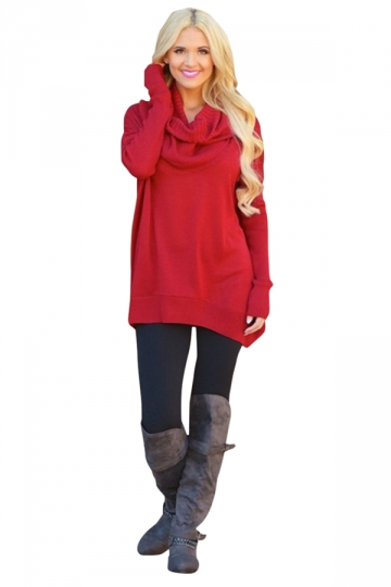 Womens Oversized Cowl Neck High Low Hem Plain Pullover Sweater Red