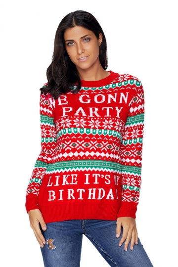 Womens Long Sleeve Christmas Snowflake Printed Fair Isle Sweater ...