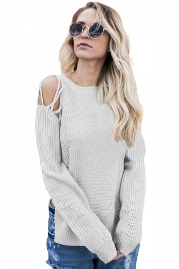 Womens Sexy Cold Shoulder Lace Up Side Slit Pullover Sweater Gray