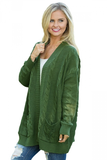 Womens Pockets Long Sleeve Fisherman Sweater Plain Cardigan Army Green