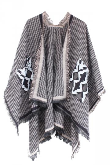 Womens Chevron Pattern Fringe Shawl Wrap Open Front Poncho Camel