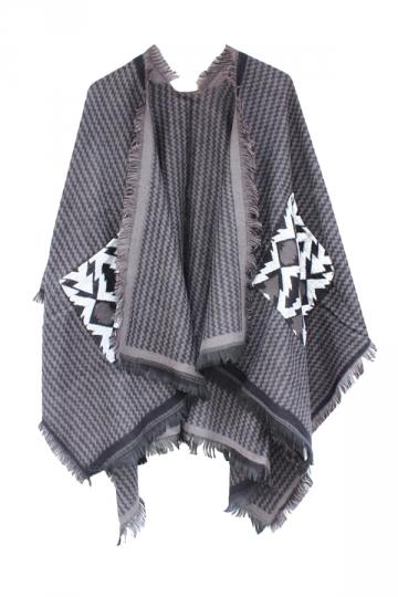 Womens Chevron Pattern Fringe Shawl Wrap Open Front Poncho Dark Gray