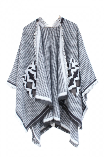 Womens Chevron Pattern Fringe Shawl Wrap Open Front Poncho Gray