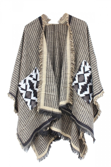 Womens Chevron Pattern Fringe Shawl Wrap Open Front Poncho Khaki