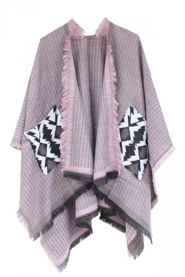 Womens Chevron Pattern Fringe Shawl Wrap Open Front Poncho Pink