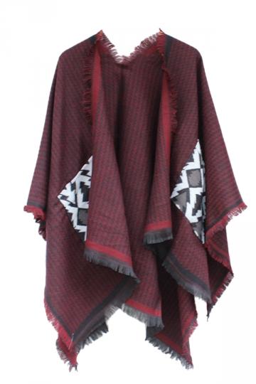 Womens Chevron Pattern Fringe Shawl Wrap Open Front Poncho Ruby