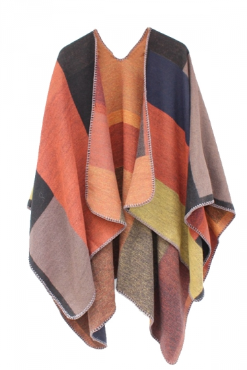 Womens Color Block Whipstitch Shawl Wrap Open Front Poncho Orange