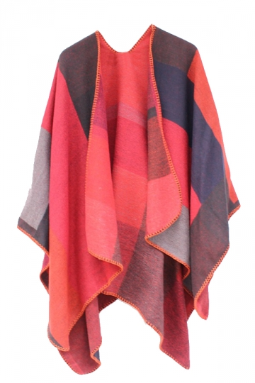 Womens Color Block Whipstitch Shawl Wrap Open Front Poncho Red