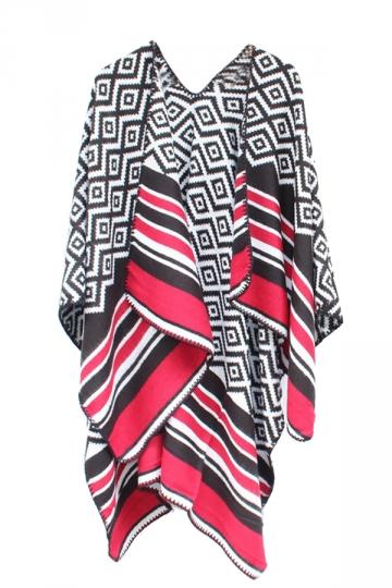 Womens Geometric Pattern Stripe Shawl Wrap Open Front Poncho Black