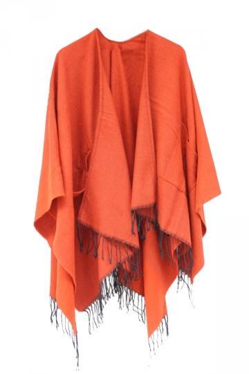 Womens Fringe Hem Both Side Pockets Shawl Open Front Poncho Orange