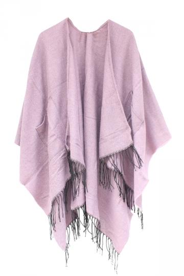 Womens Fringe Hem Both Side Pockets Plain Shawl Open Front Poncho Pink