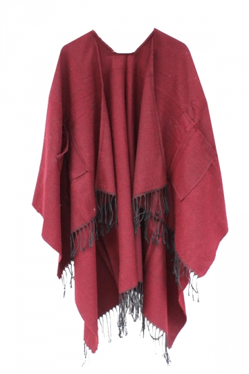 Womens Fringe Hem Both Side Pockets Plain Shawl Open Front Poncho Ruby